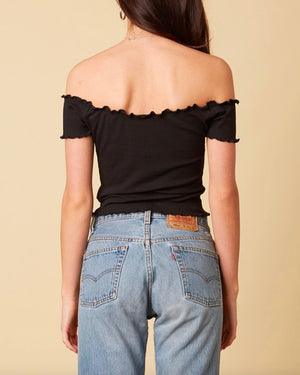 cotton candy la - not one bit - ribbed off the shoulder crop top - black