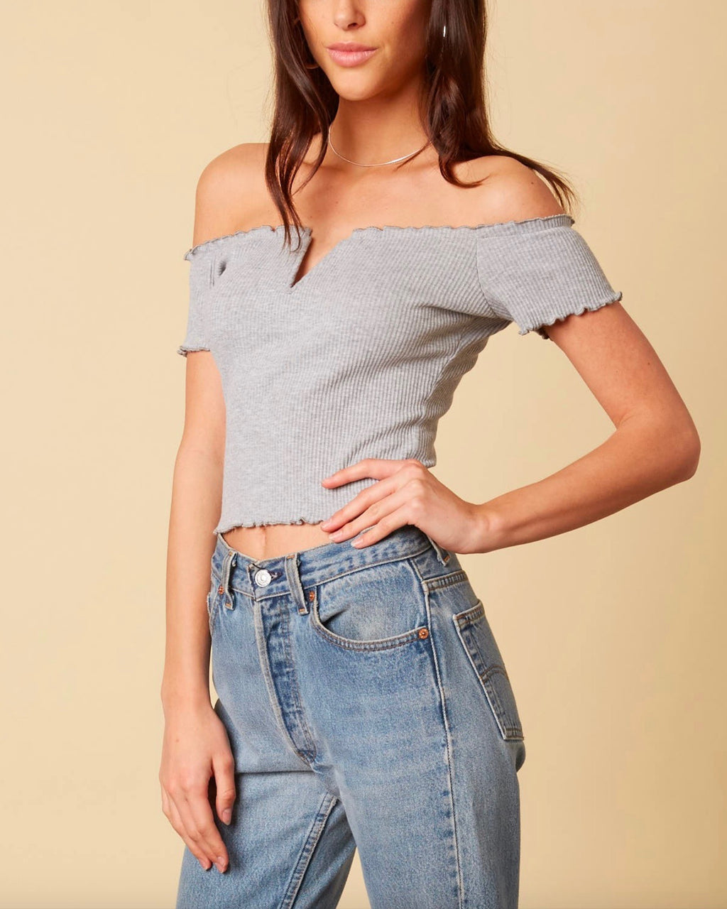 cotton candy la - not one bit - ribbed off the shoulder crop top - heather grey