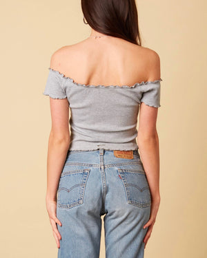 Cotton Candy LA - Not One Bit Ribbed Off The Shoulder Crop Top in Heather Grey
