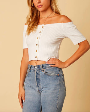 cotton candy la - button up knit off the shoulder crop top - white