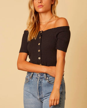 cotton candy la - button up knit off the shoulder crop top - black
