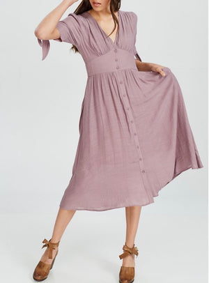 Final Sale - Darling Gauzy Cotton Endless Summer Midi Dress in Mauve