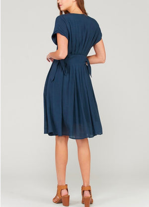 In The Air Woven V-Neck Button Down Empire Waist Dress in Navy