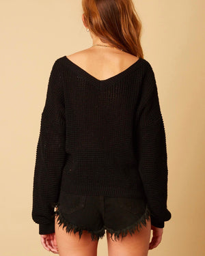 Cotton Candy LA - Plunging Twist Knot Front Sweater with Dropped Shoulder in Black