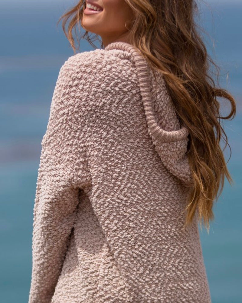 Boxy Fuzzy Long Sleeve Knit Hoodie in Mauve
