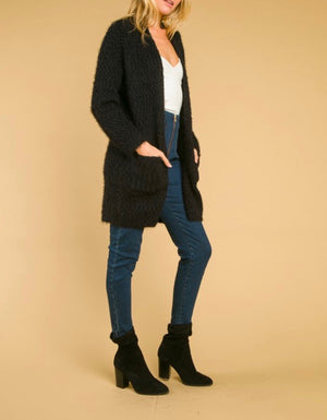 wild honey - long fuzzy cardigan with pockets - black