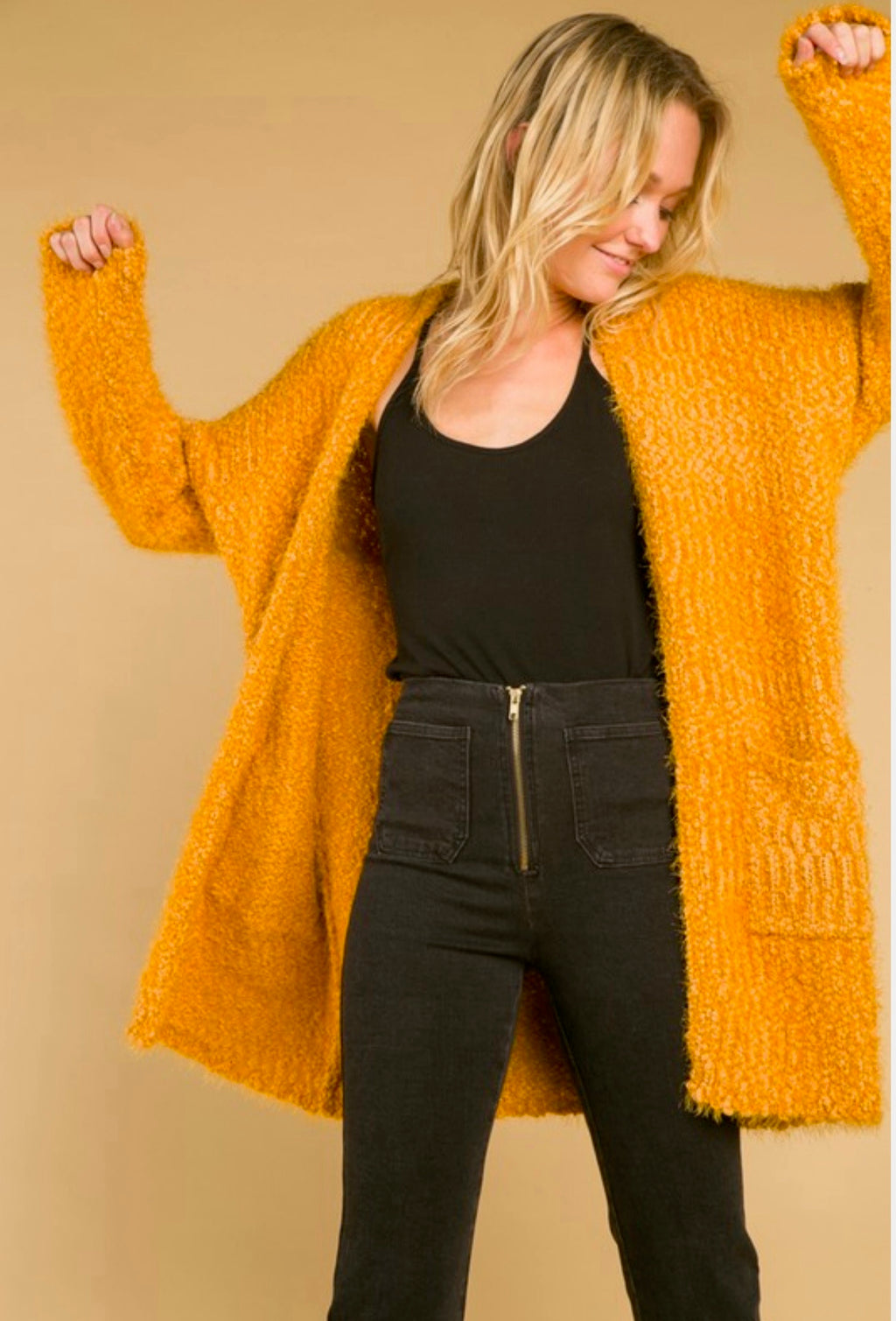 wild honey - long fuzzy cardigan with pockets - gold