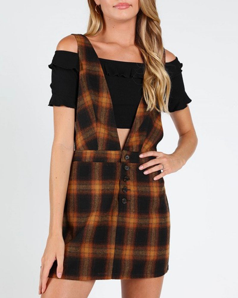 wild honey by honey punch - plaid v-neck pinafore dress - brown