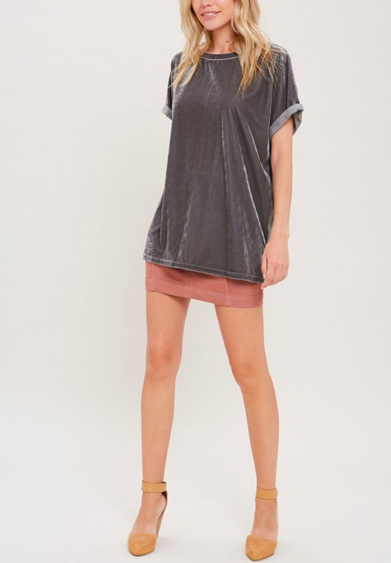 On The Road Velvet Top in Grey
