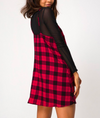 Motel - sanna slip dress in winter plaid red/black
