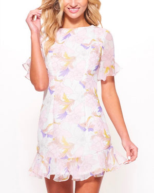 open back floral printed ruffled chiffon mini dress in White