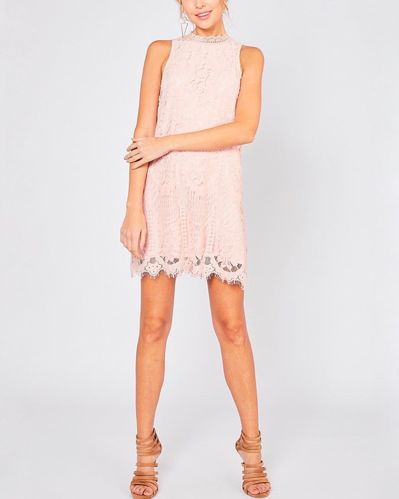 Final Sale - Best Part Sleeveless Lace Scallop Hem Mini Dress in Blush