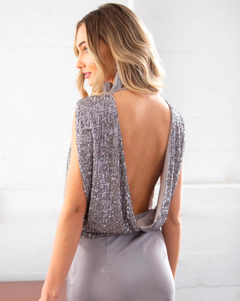 City Girl Sleeveless Surplice Sequins Tank Top in Silver