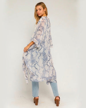 Snake Print Open Mini Kimono Duster in Blush