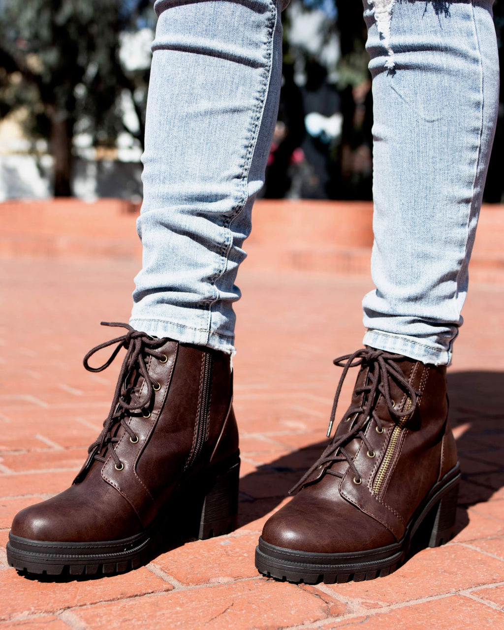 Lace-Up Chunky Heel Combat Boots - More Colors