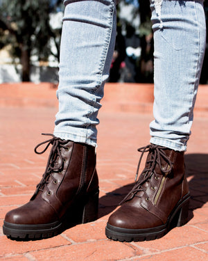 Lace-Up Chunky Heel Combat Boots - More