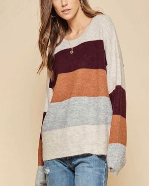 Soft Colorblock Oversized Sweater - More Colors