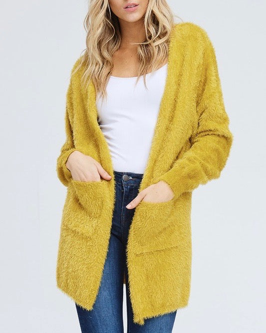 Soft Fuzzy Open Front Cardigan with Double Pockets in Mustard