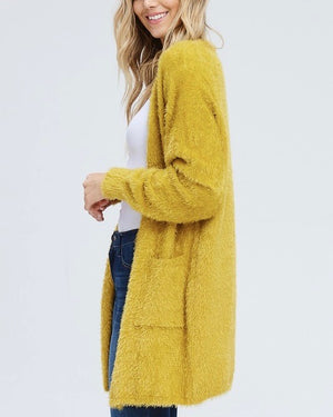 Soft fuzzy open front cardigan with double pockets - mustard