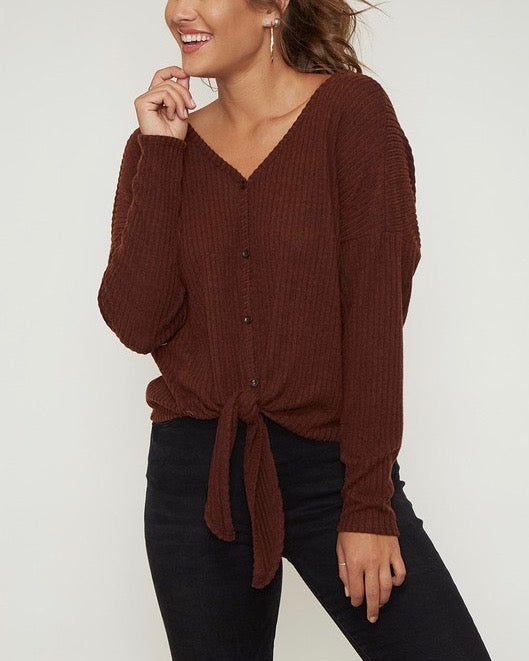Solid Rib Self Front Tie Thermal Top With Twisted Open Back - Maroon