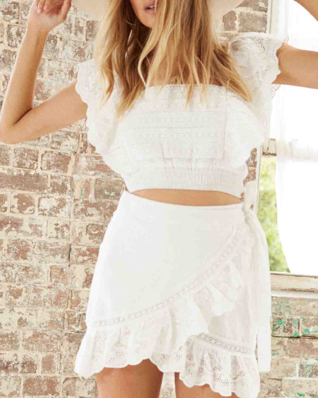 Somedays Lovin' - Carry Away Eyelet Lace Wrap Skirt - Off White
