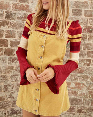 Final Sale - Somedays Lovin - Rising Sun Pinafore Corduroy Dress - Butter
