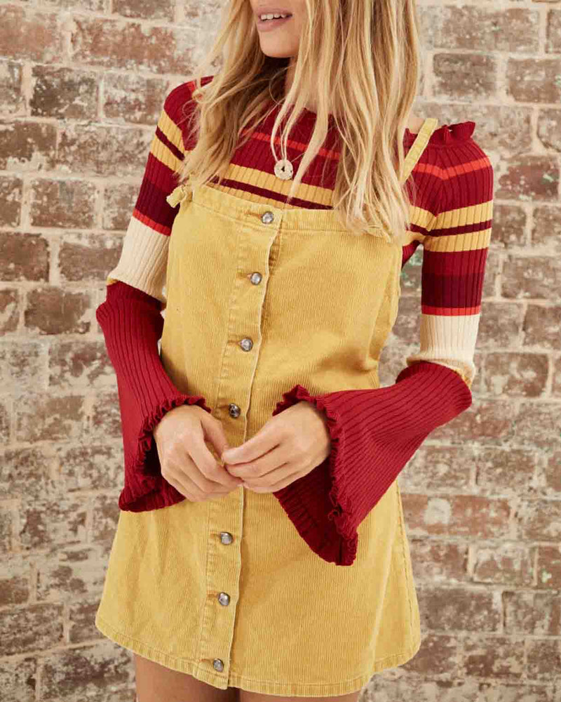 Somedays Lovin - Rising Sun Pinafore Corduroy Dress - Butter