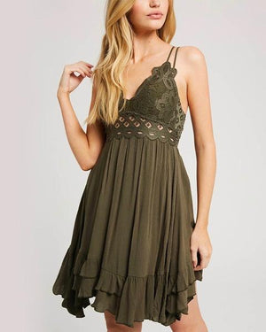 Speechless Scalloped Lace Bralette Mini Dress in More Colors