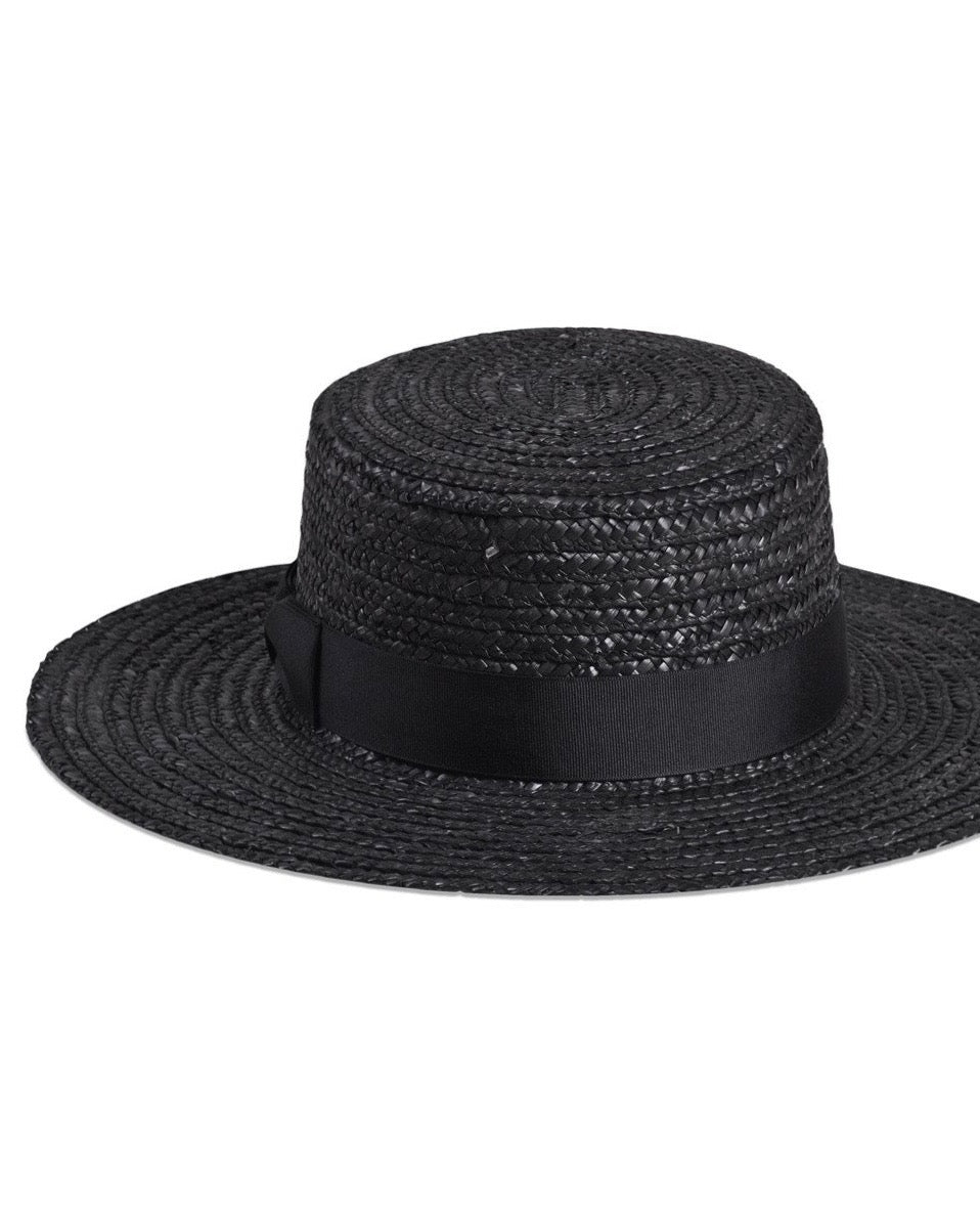 Lack of Color - The Spencer Noir Straw Boater Hat - black