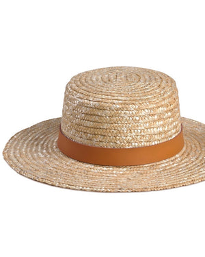 Lack of Color - The Spencer Terracotta Straw Boater Hat - natural/terracota