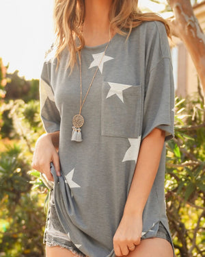 Star Print Top With Pockets in Blue Grey