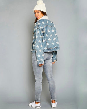 Star Printed Denim Sherpa Trucker Jacket
