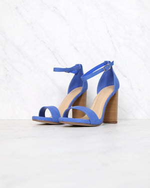 Stepping into Sophistication High Heels with Ankle Strap and Single Band - BLUE
