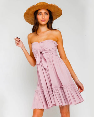 Strapless Tiered Dress with Frayed Hem in More Colors