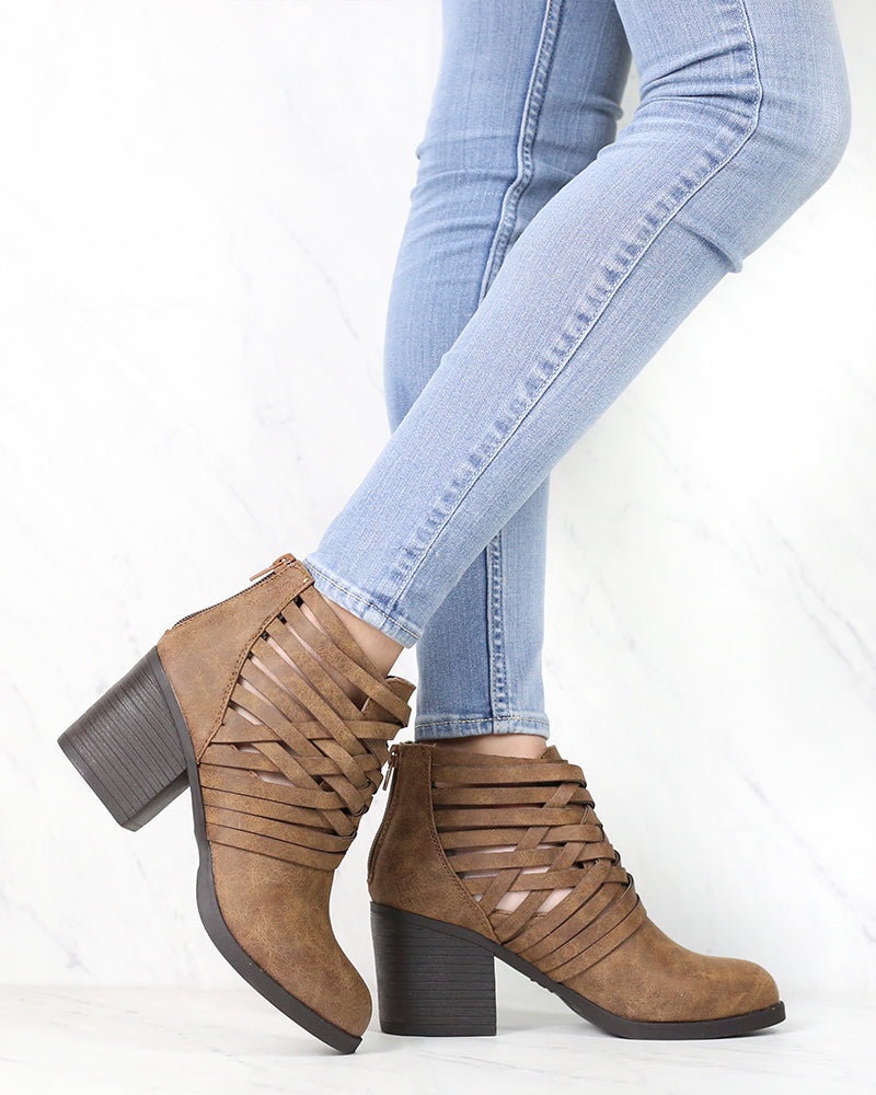 Strappy Woven Vamp Chunky Heel Bootie in Camel