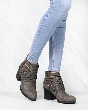 Strappy Woven Vamp Chunky Heel Bootie in Grey