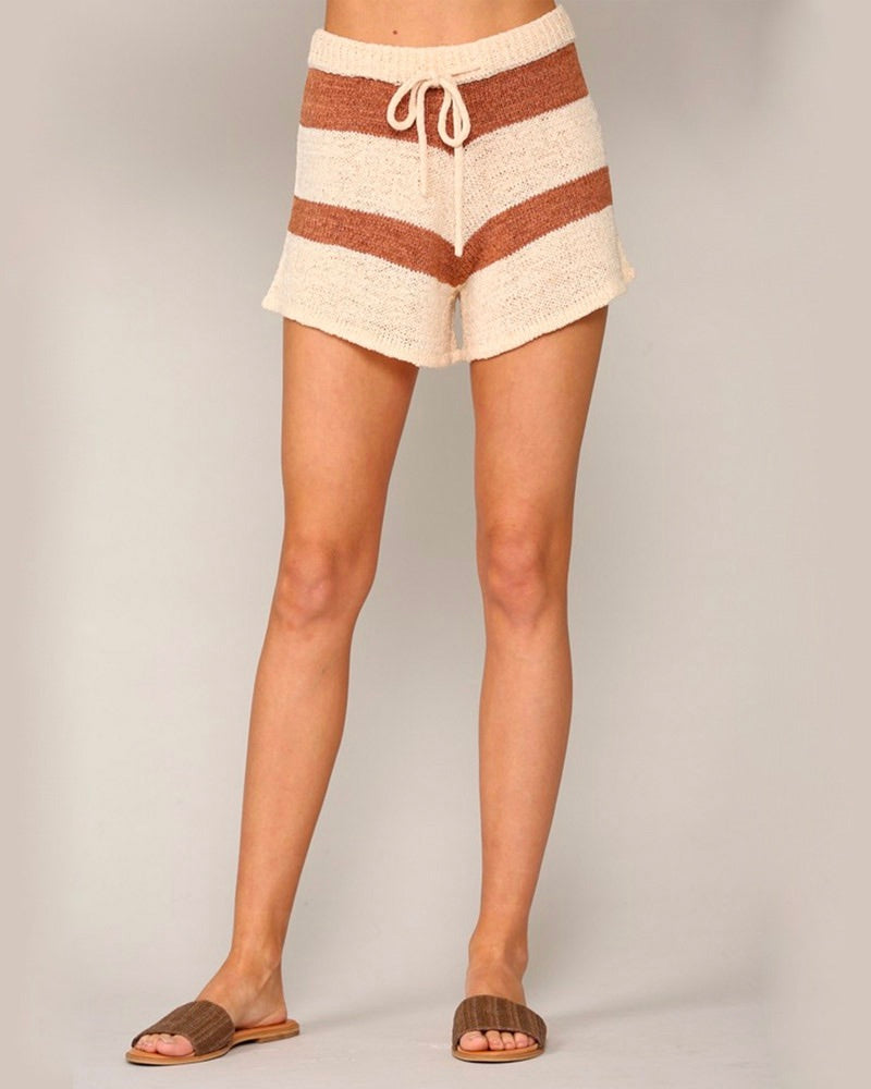 Stripe Knit Shorts in Camel Ivory