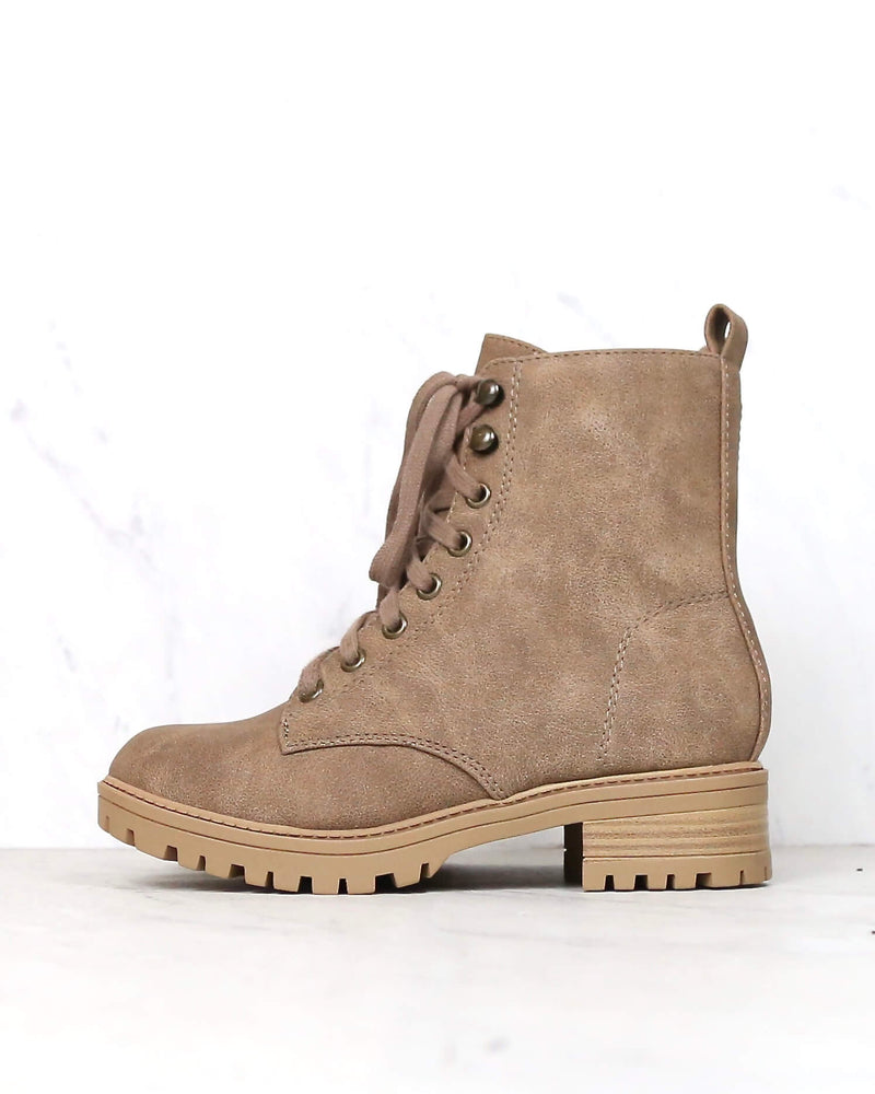 Suede Lace-Up Combat Boots - Taupe