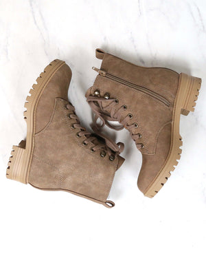 Nubuck Suede Lace-Up Combat Boots - Taupe