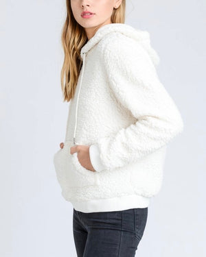 Super Soft Sherpa Front Pocket Hoodie Pullover - Ivory/White