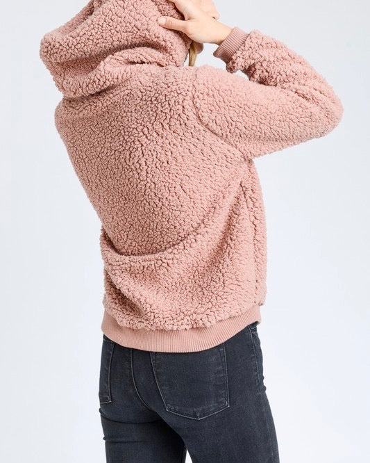 Super Soft Sherpa Front Pocket Hoodie Pullover - Mauve