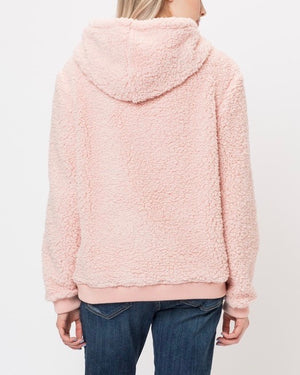 Super Soft Sherpa Front Pocket Hoodie Pullover - Pink