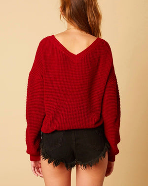 Cotton Candy LA - Plunging Twist Knot Front Sweater with Dropped Shoulders in Burgundy