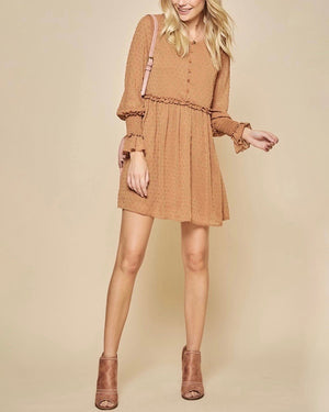 Swiss Dot Ruffle Detail Long Sleeve Dress in Rust