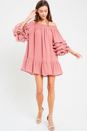 Swiss Dot Ruffle Tiered Sleeve Off-The-Shoulder Tunic Dress in Ginger