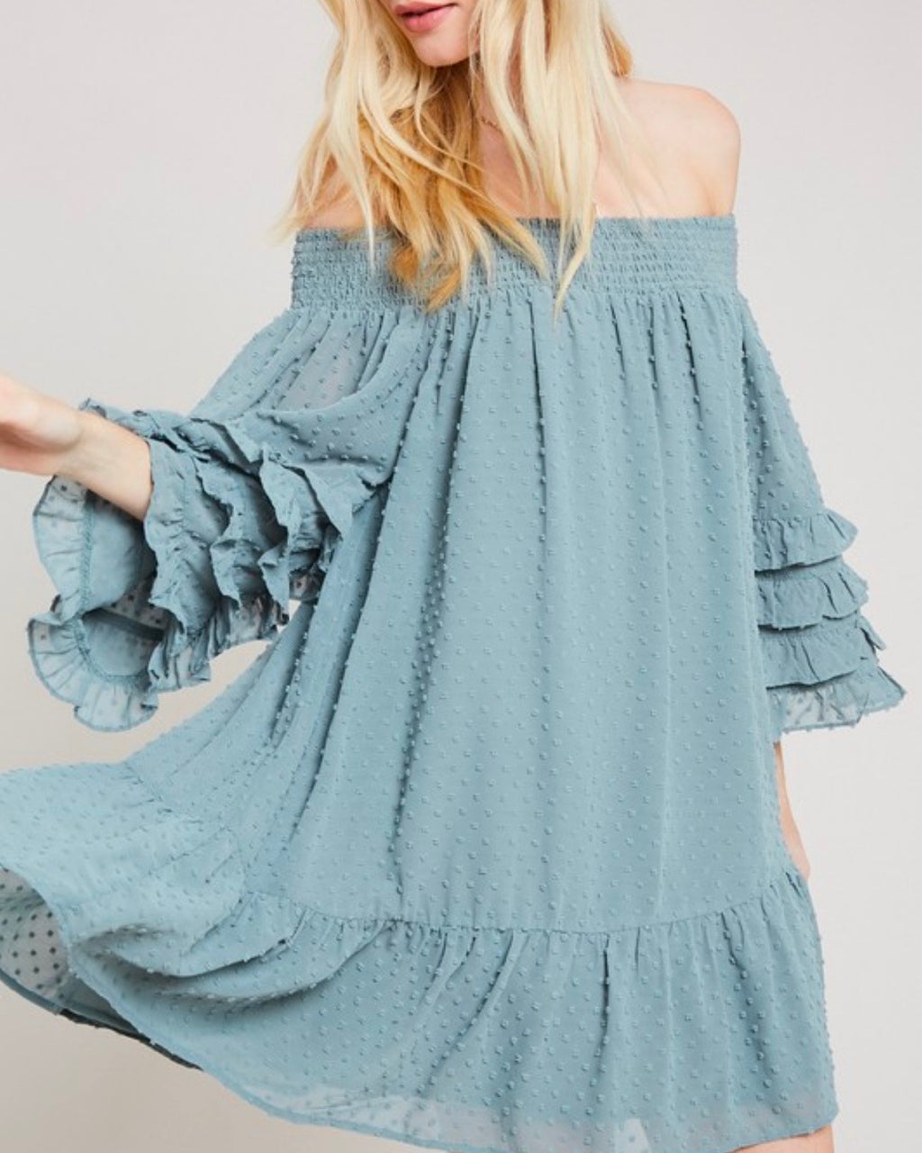 Swiss Dot Ruffle Tiered Sleeve Off-The-Shoulder Tunic Dress in Grey Mint
