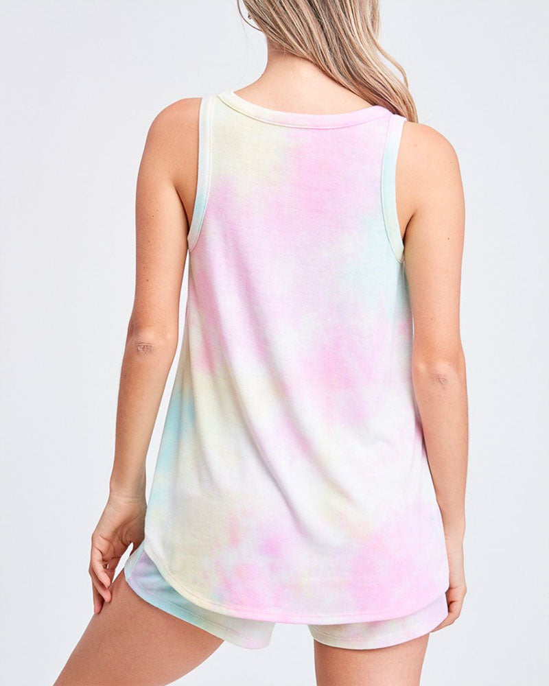 Tie Dye Sleeveless Tank Lounge Set in Pink/Light Mint