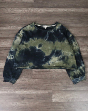 Tie Dye Cropped French Terry Knit Sweatshirt in Rocky Basil Green