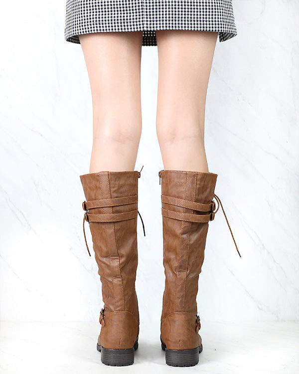 Tall Lace Up Combat Boots in Tan