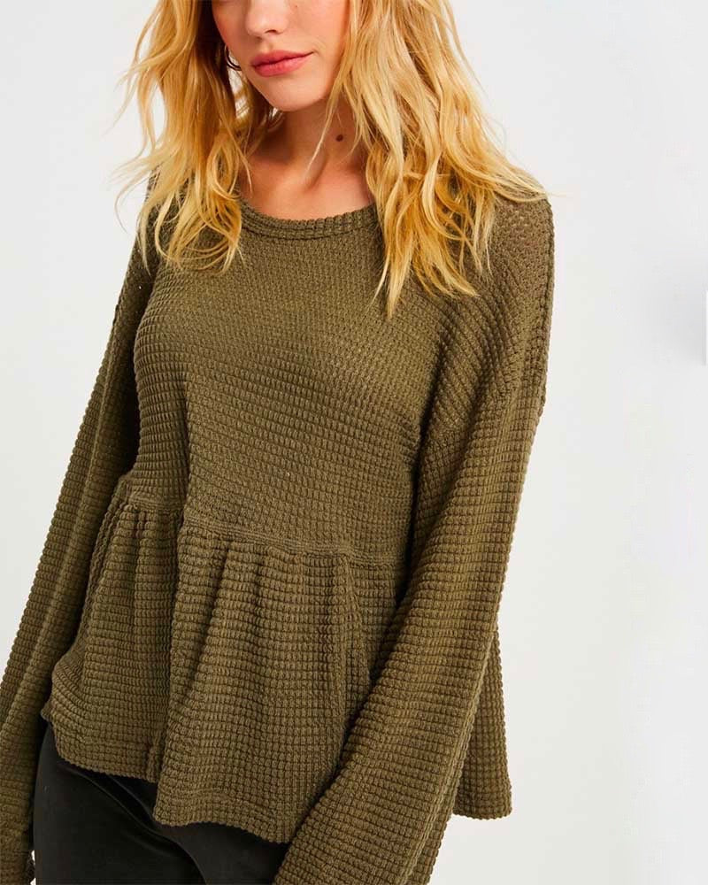 Textured Drop Waist Long Sleeve Top - More Colors